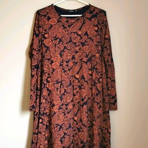 Boohoo Long Sleeve Boho Paisley Print Dress